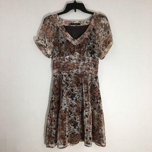 Romy Chiffon Rust Brown Floral Midi Dress